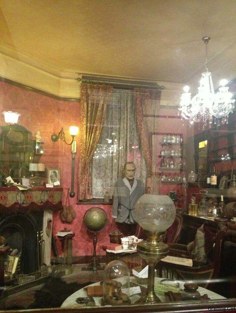 a facsimile of Sherlock Holmes room inside The Sherlock Holmes Cafe, Trafalgar Square