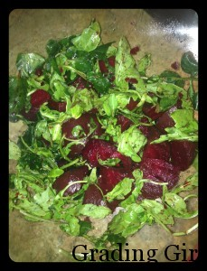 Arugula and beet salad - I discovered many new lettuce leaves, thanks to this book.